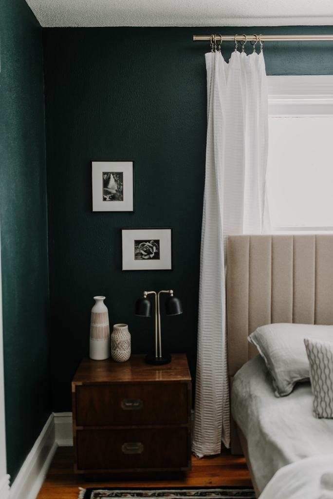 Our Cozy, Black Evergreen Spare Bedroom with an Office Nook | Dark Green Paint Colors | Dark Green Bedrooms  www.mirandaschroeder.com