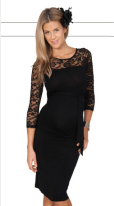 Lace Insert Body Con Maternity Dress