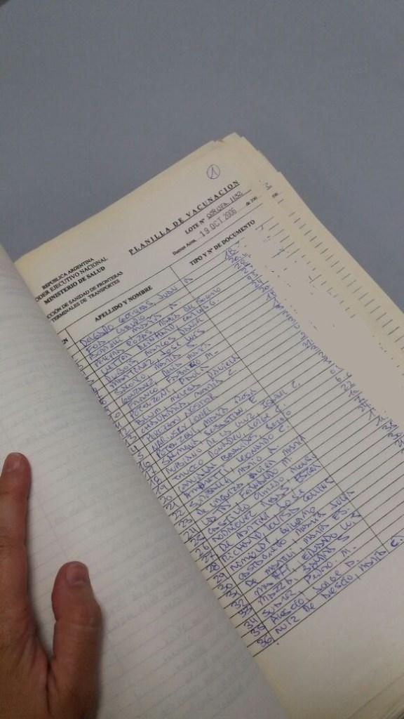Registro Vacuna Fiebre Amarilla. Puerto Madero