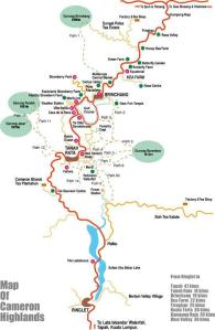 Mapa Trekking Cameron Highlands
