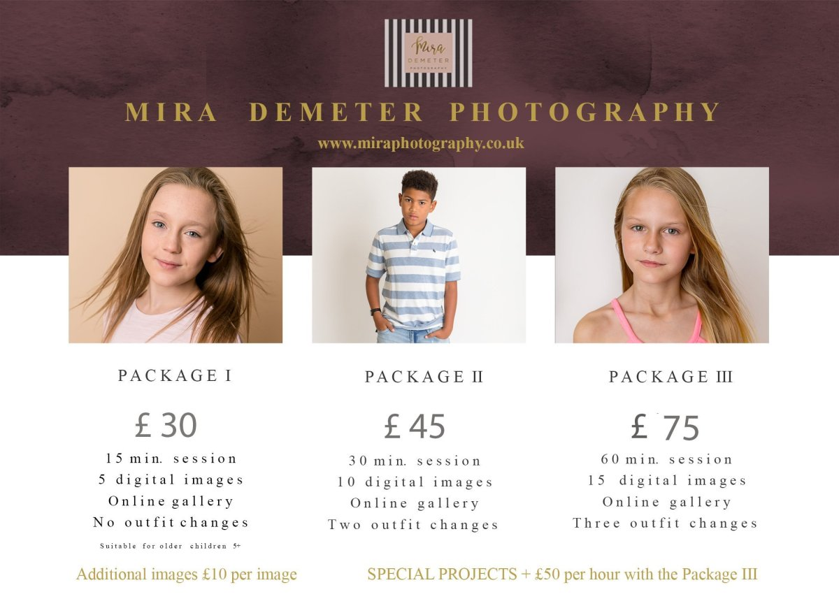 Headshots child modelling portfolio Mira Demeter Photography