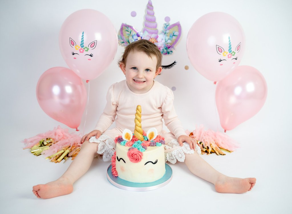 Unicorn Birthday cake smash photography London Enfield Photographer