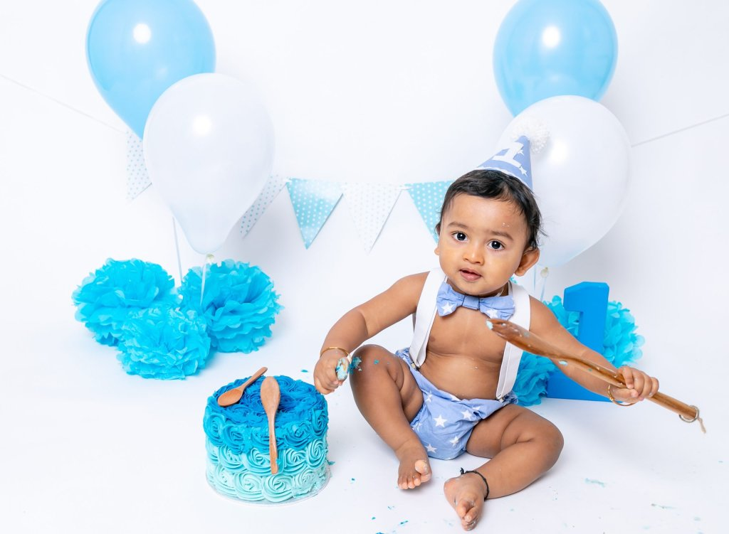 Cake Smash Photography, Boy having Birthday Celebration Cake Smash 1st Birthday in London Enfield Barnet
