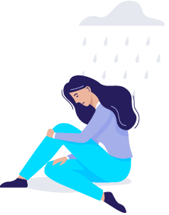 A person sitting cross-legged with a cloud hanging over their head, feeling mood changes because of trauma symptoms