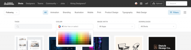 Screen Shot of Dribbble's Color Search Expanded on the Front Page Within the Filter Bar
