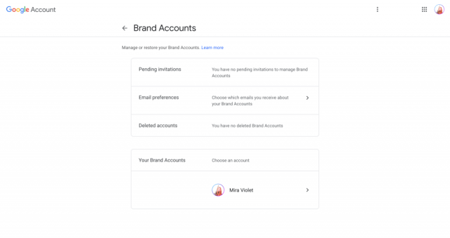 Brand accounts dashboard where you can Transfer A Youtube Channel
