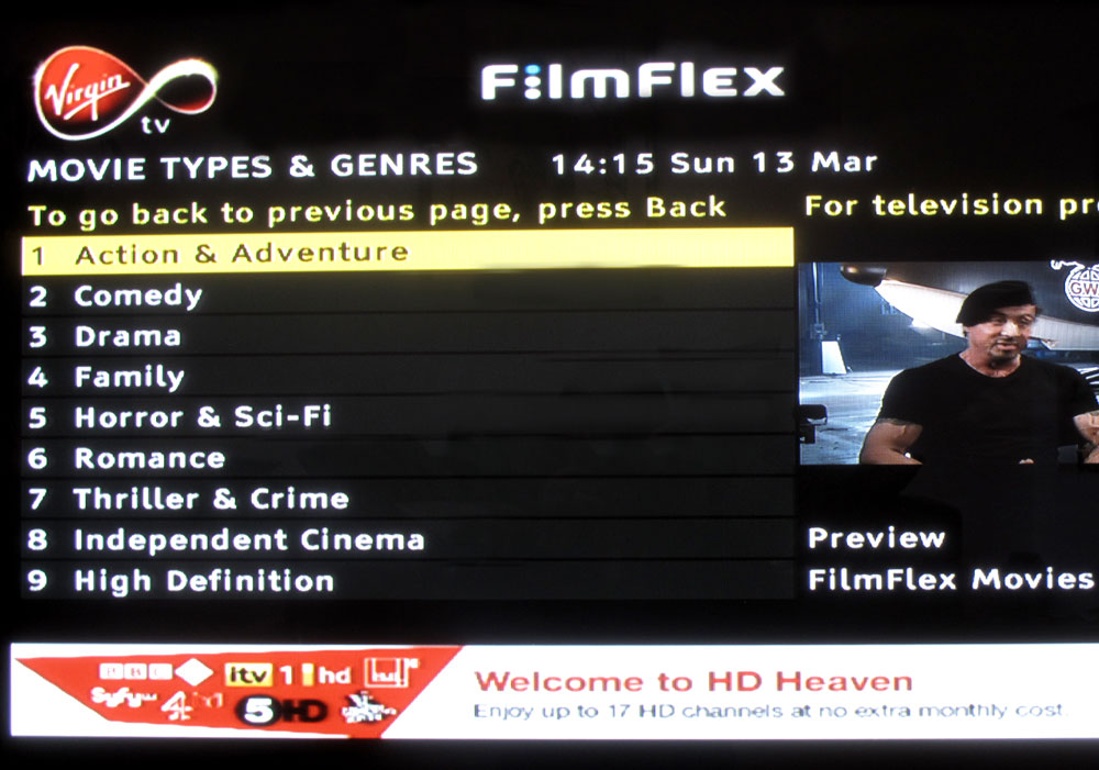 Virgin Movies - Genres page