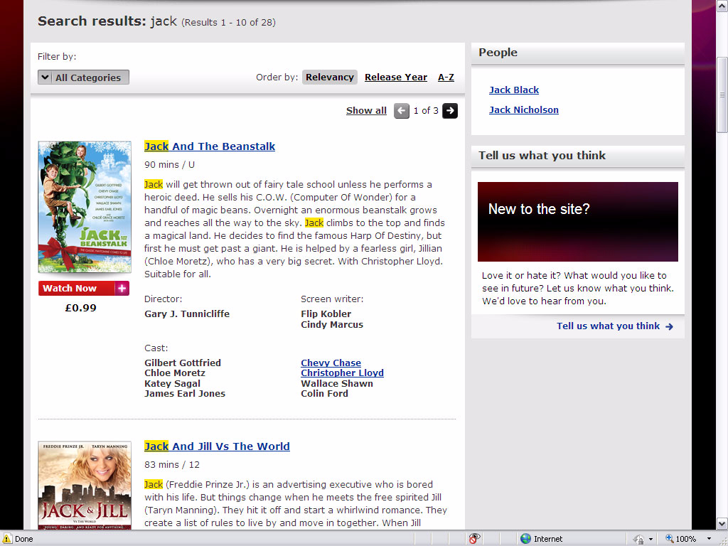 Virgin Media Online Movies - Search page