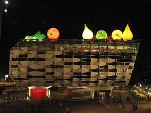 Pabellón de Aragón de noche