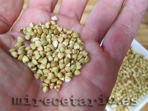 Detalle del grano de trigo sarraceno