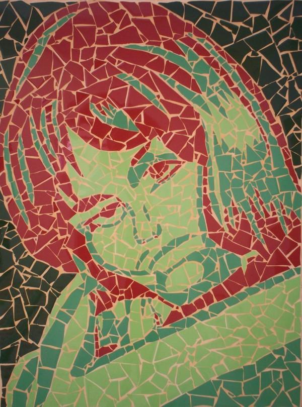 Mozaïek Coca Cola Girl - 2008 - Mozaïek op hout - 80 x 60 cm - € 200,-