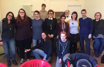 Participants at Barbara Calzolari's Spencerian workshop, Centro Sociale Giorgio Costa, Bologna, April 2–3, 2016.