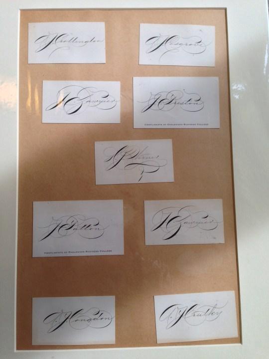 Examples of signatures, Spencerian workshop, Centro Sociale Giorgio Costa, Bologna, 3 April 2016 (photo: Miriam Jones).