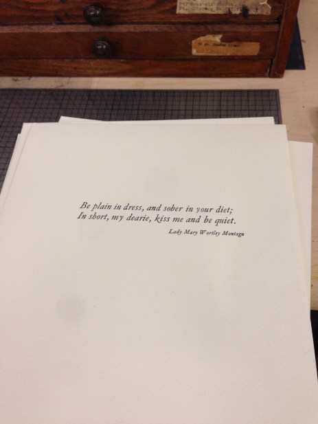 Project, Sarah Bryant's Introduction to Letterpress Printing, London Centre for Book Arts, London, June 18, 2016 (photo: Miriam Jones).