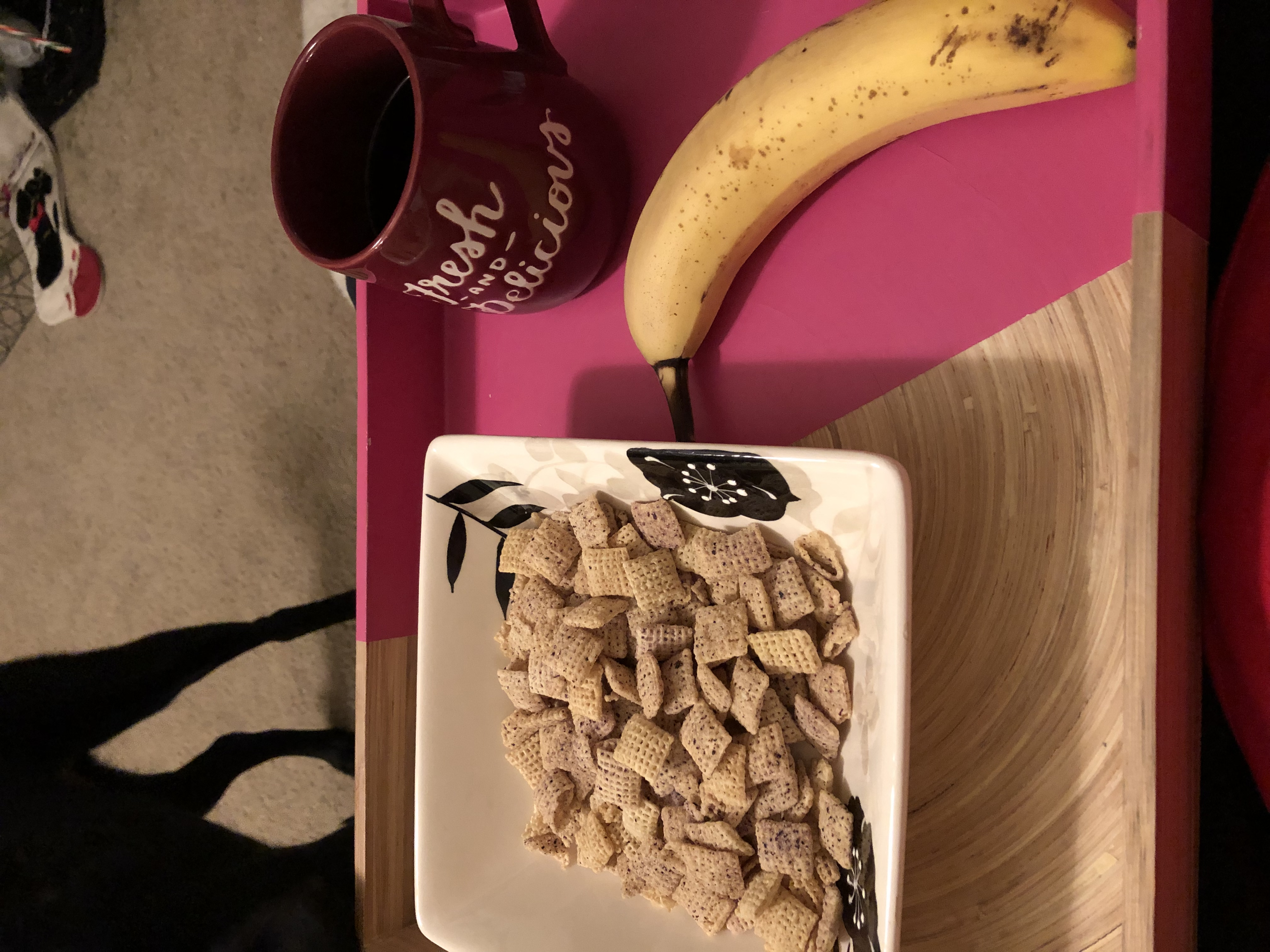 Blueberry chex cereal with a banana and black coffee