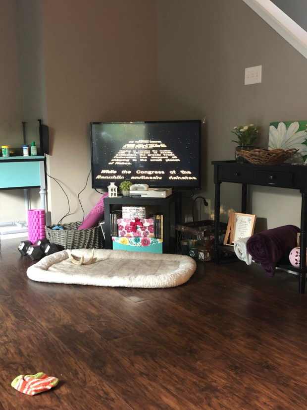 Star Wars on TV in living room