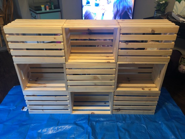 Plain crates glued together