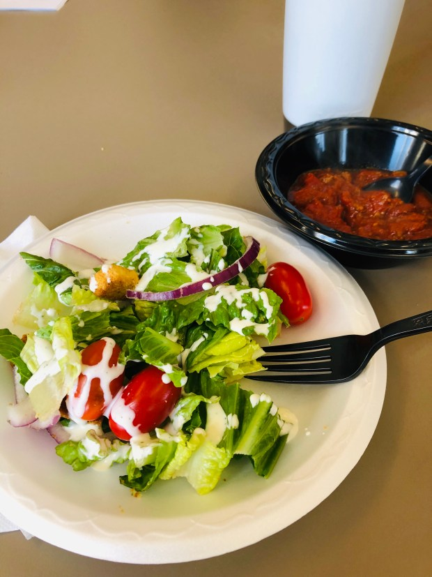 Salad and chili for lunch