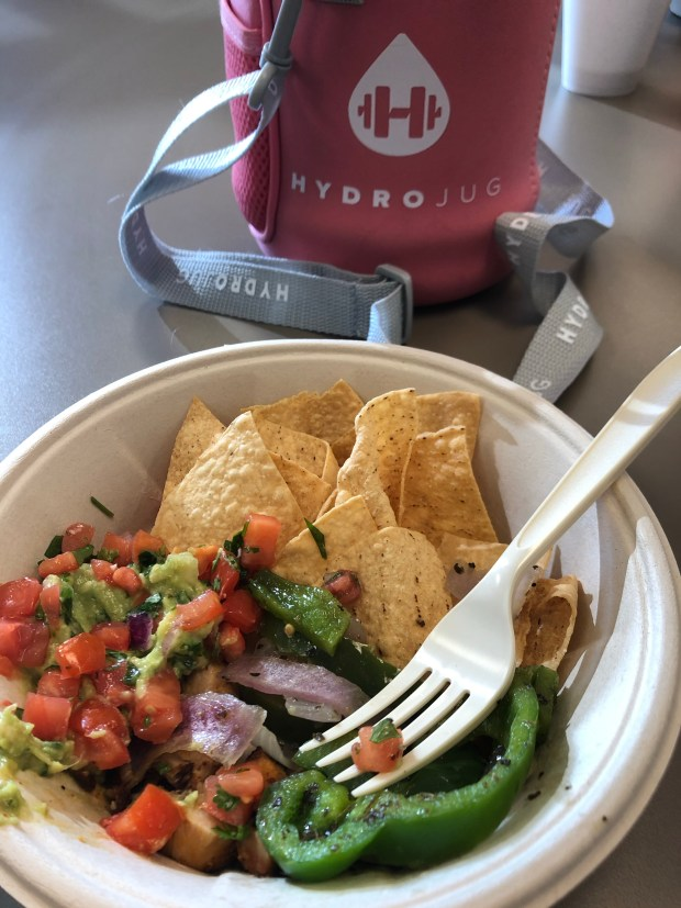 Chips, Guacamole, HYDROJUG, and grilled veggies