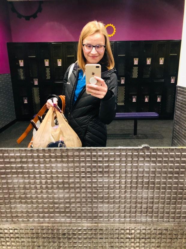 Selfie in scrubs in mirror