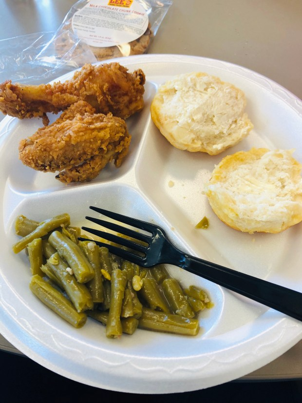Chicken, biscuit, and green beans
