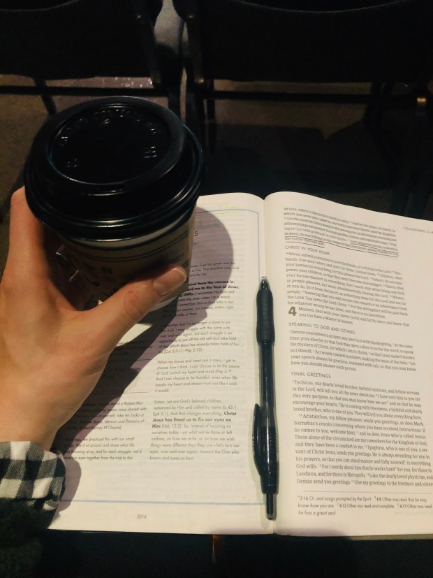 Coffee and bible at church