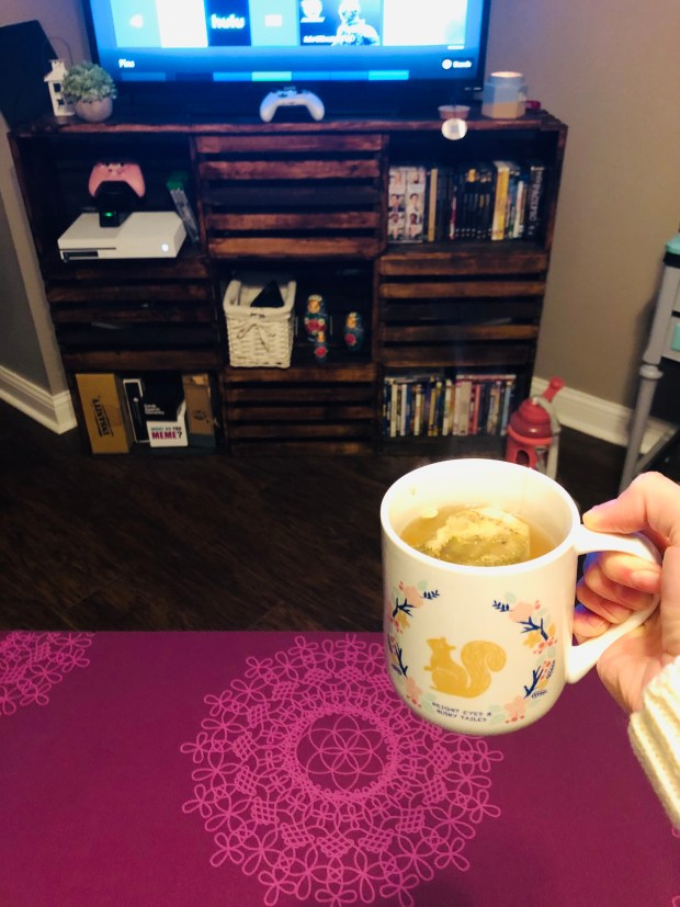 Lemon, ginger tea and yoga mat