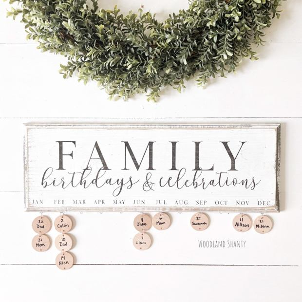Family Birthdays and celebrations sign