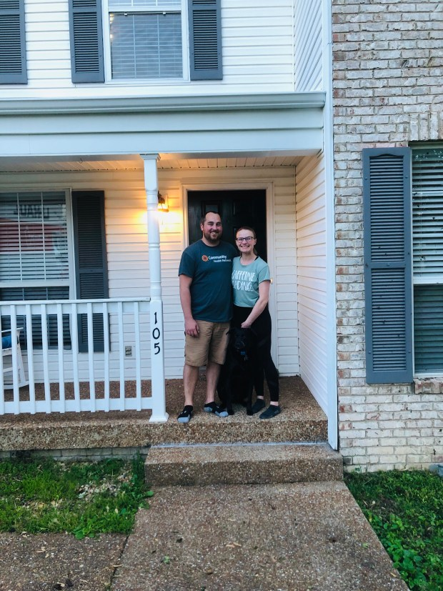 Kyle, Chance, and I in our new home!