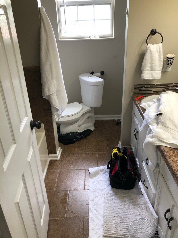 Toilet getting fixed