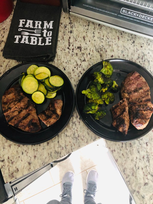 Grilled steaks and veggies