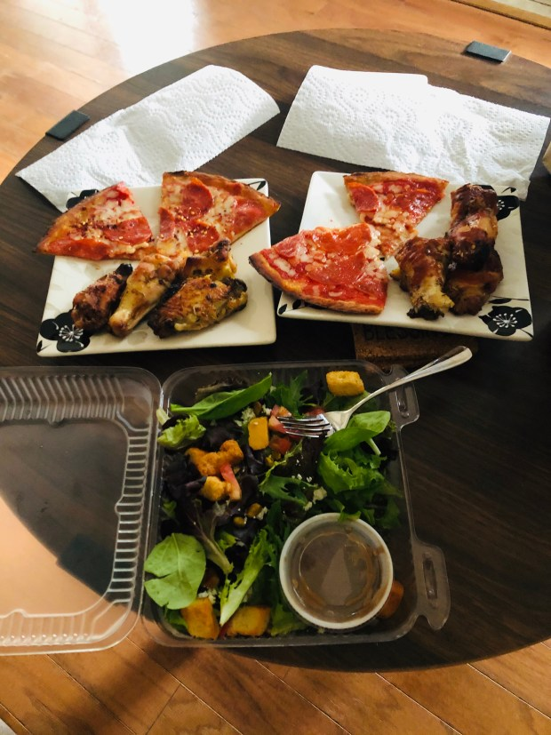 Salad, pizza, and wings