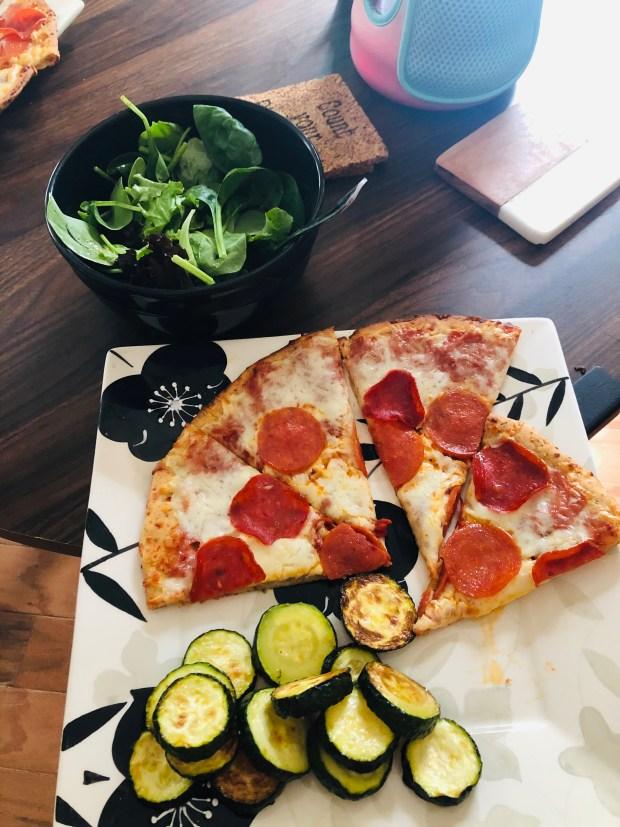 Cauliflower pizza and veggies