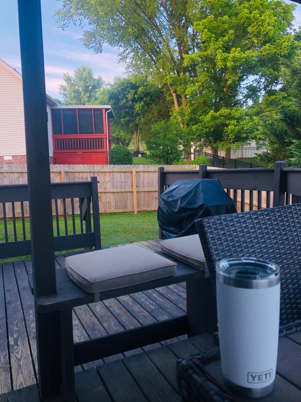 Iced coffee on back deck
