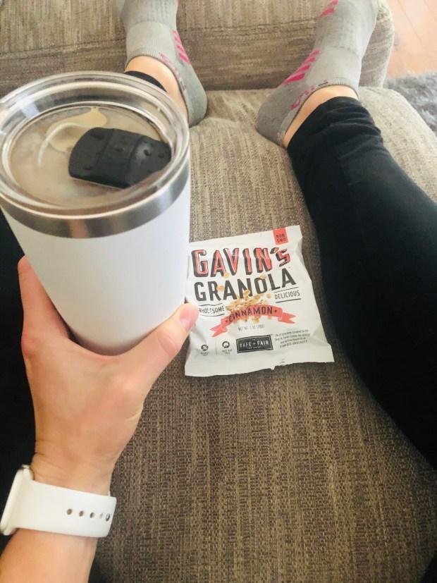 Iced coffee and granola