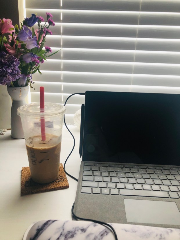 Home office and iced coffee