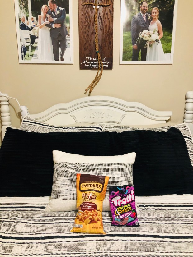 Clean bedroom with snacks