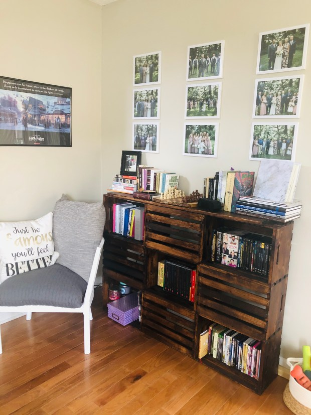 Cleaning living room with photos and books