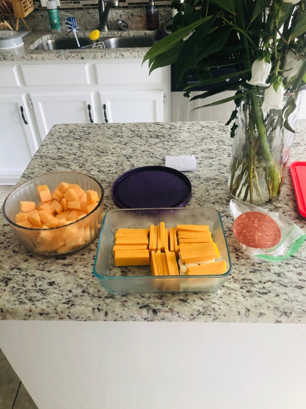 Cantaloupe, cheese, and pepperoni snack