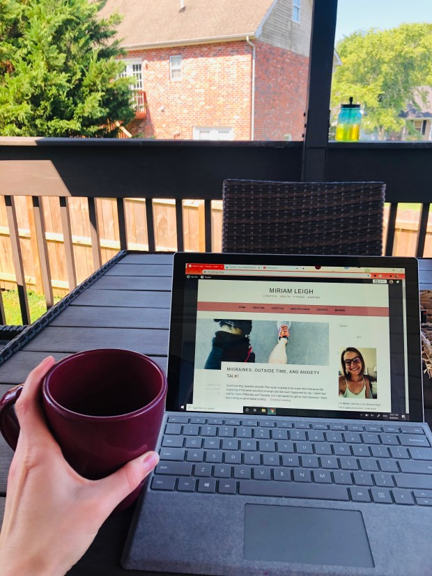 Cup of coffee and blogging on deck