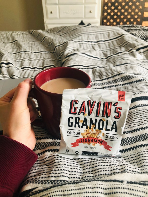 Granola and coffee in bed