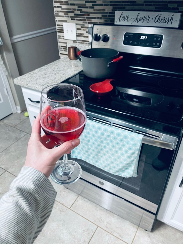 Flavored water in wine glass and cooking