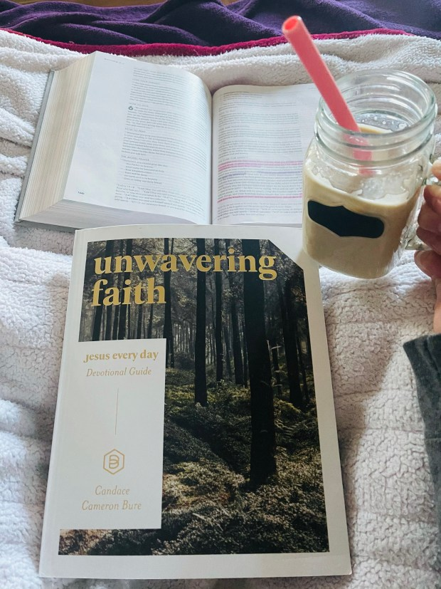 Devotional, bible, and iced coffee
