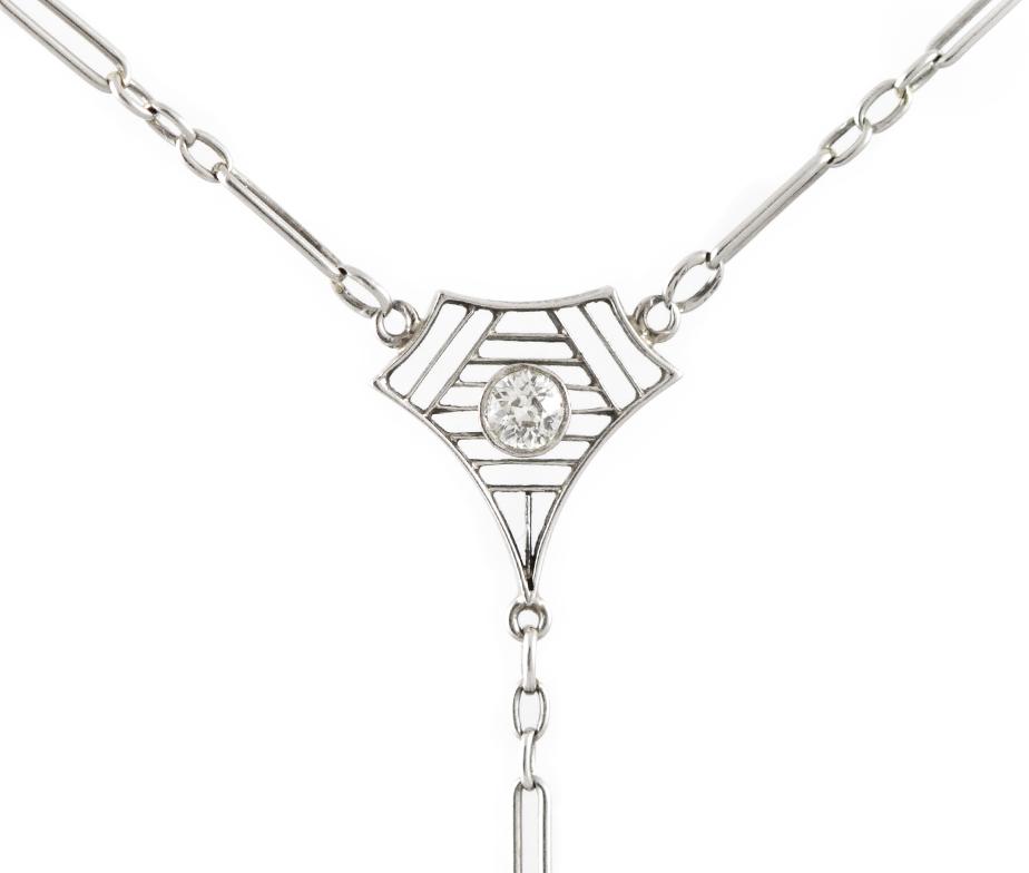 Miriams Jewelry Longines Magenta Blue Enamel Necklace with