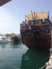 A dhow ship at the marina