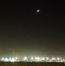 October full moon from the airport in Dubai! If you look closely you can sort of see the Burj Khalifa in the background