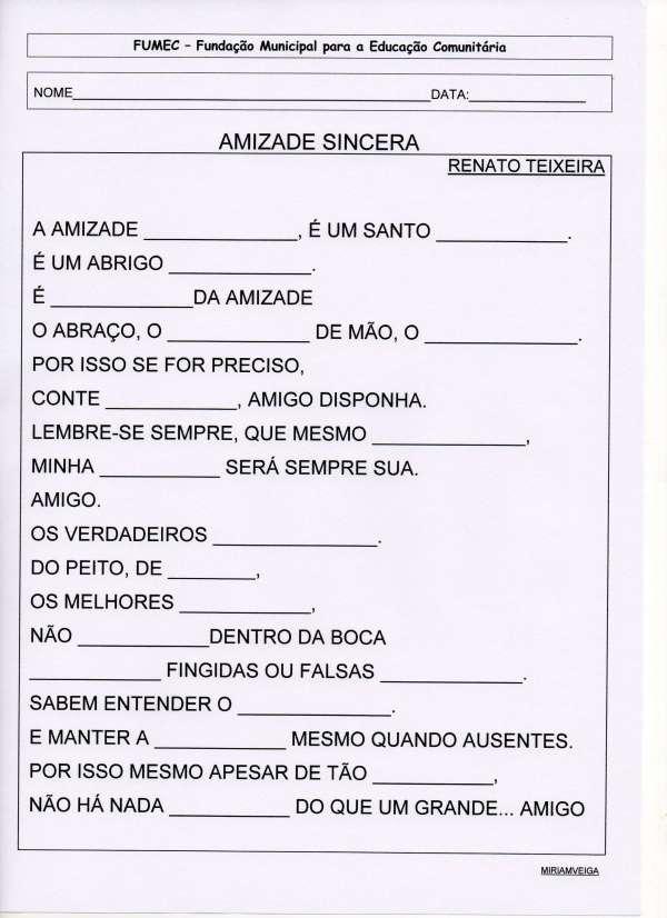 EJA-Projeto Amizade-Texto Lacunado