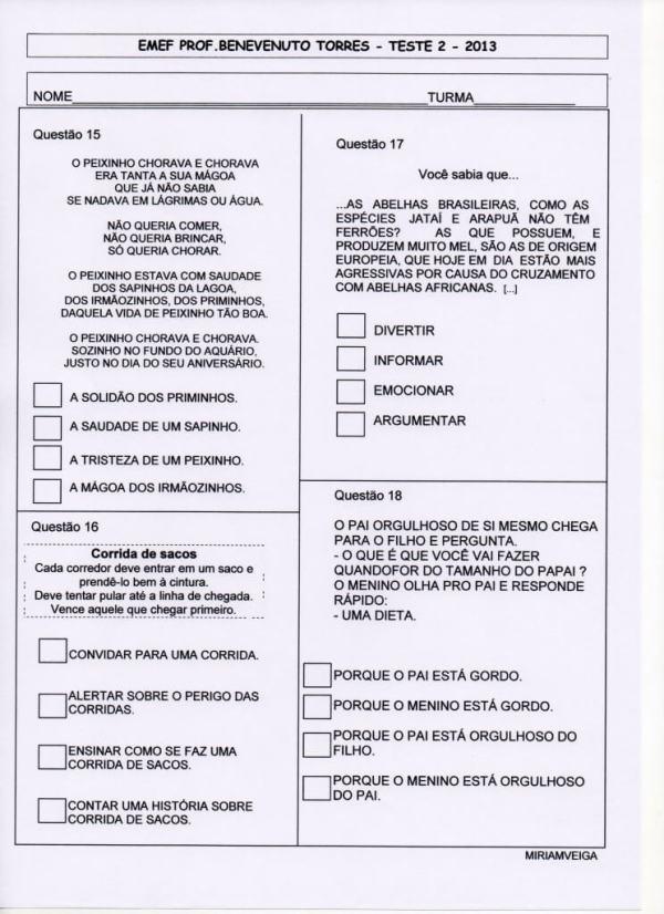 Provinha Brasil – teste 2 – Português – Ano 2013-parte 4