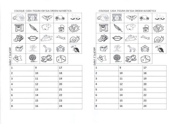Ordem Alfabética-Escreva o nome das figuras
