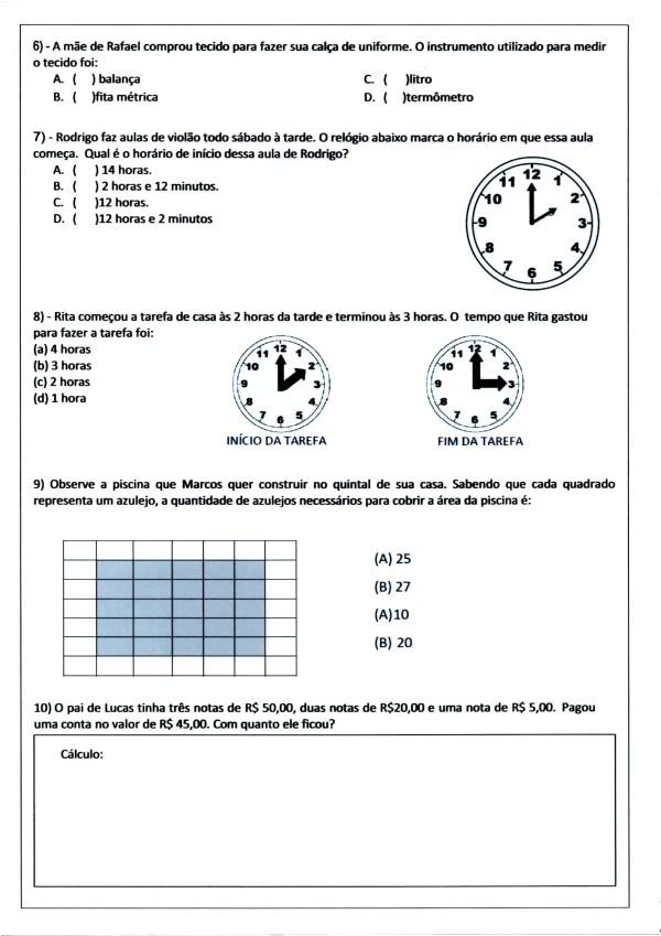 Avaliação de Matemática-3º ANO EF-Parte 3